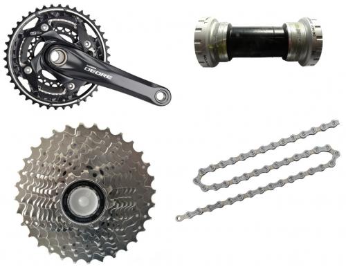 Shimano Fahrrad Bike Verschleißset Kurbel Kette Zahnkranz Innenlager 3x9 27 Gang