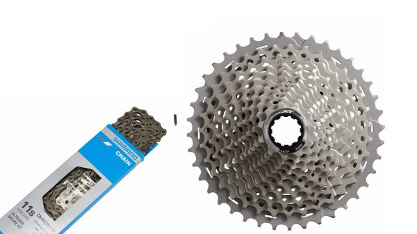 Shimano Fahrrad Verschleißset 11 Gang Deore XT CS-M8000 Kassette 11-40 & CN-HG701 Kette